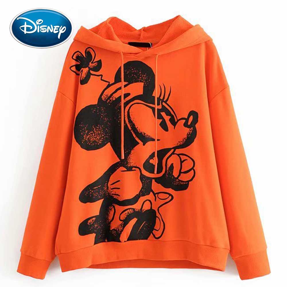 Disney Stylish Mickey Mouse Cartoon Floral Print O-Neck Pullover Streetwear Orange Women Sweatshirt Hoodies Long Sleeve Tops