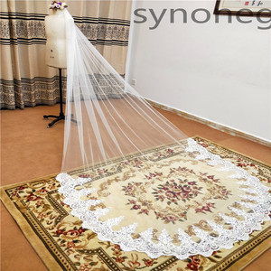 Image 3 - Real Photo Real Photo 3m One Layer Wedding Veil With Comb White Lace Edge Bridal Veils Ivory Cathedral Wedding Veil 5m