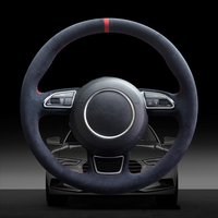 Blue Alcantara Alcantara Hand stitched Car Steering Wheel Cover for Audi A1 A3 A4 A5 A7