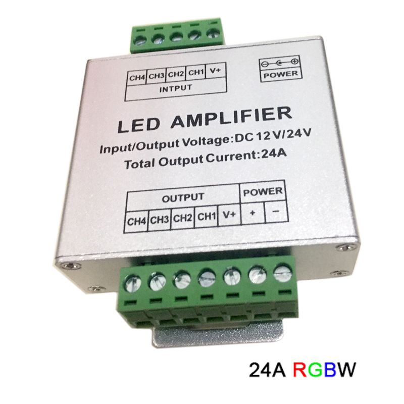 DC12V-24V LED RGBW / RGB Amplifier 12A 24A 30A 3CH 4CH Output RGBW/RGB LED Strip Light Power Repeater Console Controller
