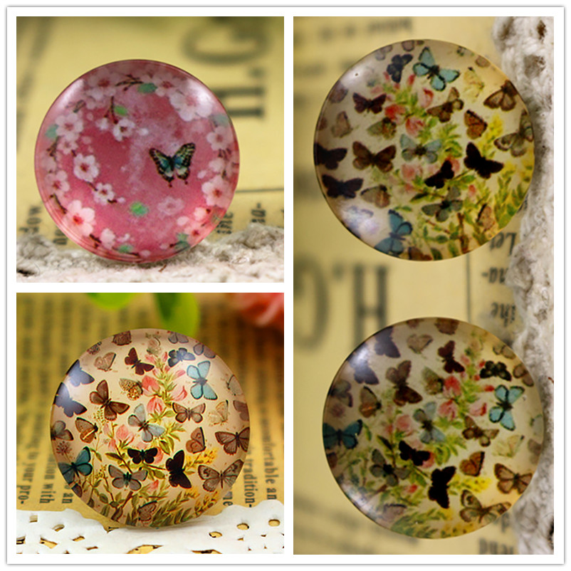 New Arrival 14mm 18mm 20mm 25mm Handmade Flowers,butterfly Series Photo Glass Cabochons