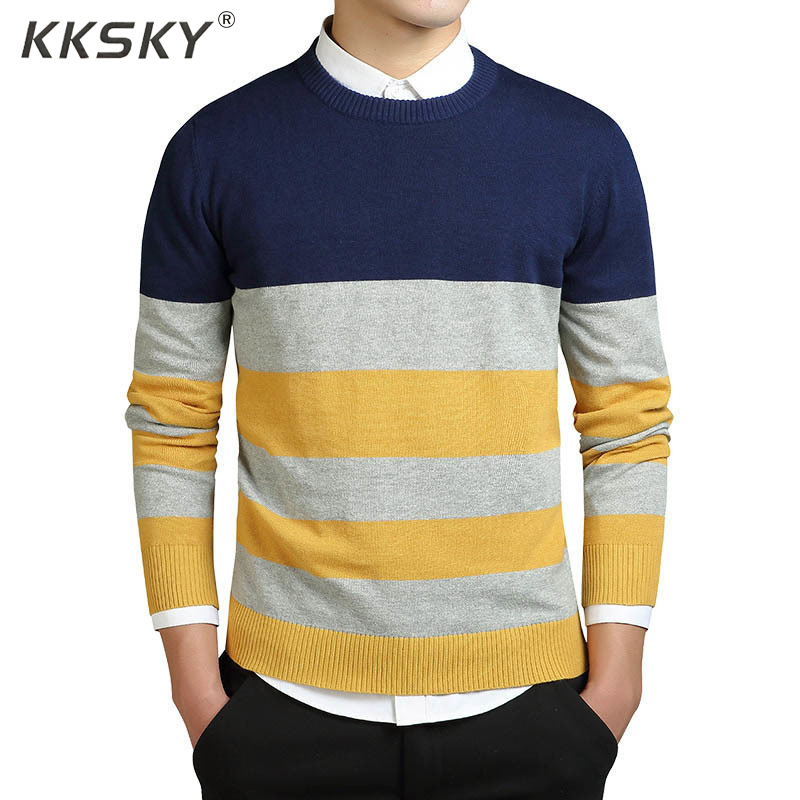 Striped Sweater Men Cotton Pullovers And Sweater Long Sleeve Autumn Coats Mens Pullovers O-neck Casual Korea Style Sweater M-3XL