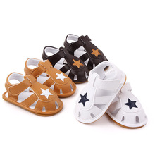 Newborn Sandals Shoe PU Toddler Soft Soled Shoe Pentagram Pattern Baby Infant Summer Sandals Flat with Kids Summer Shoes