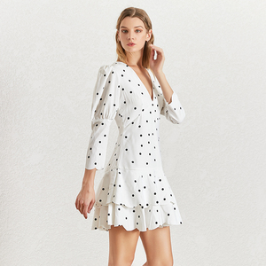 Image 2 - TWOTWINSTYLE Summer Polka Dot Dress For Women V Neck Puff Sleeve High Waist Ruffles Mini Dresses Female Fasihon Clothing 2019