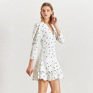 Image 2 - Twotwinstyle verão polka dot vestido para mulher v pescoço puff manga cintura alta babados mini vestidos feminino fasihon roupas 2019