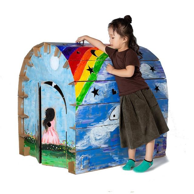 Dzieci montaż duży papier dom Graffiti, kreatywny, ręcznie robiony dla rodziców i dzieci kolor wstawiania zabawki gry dom