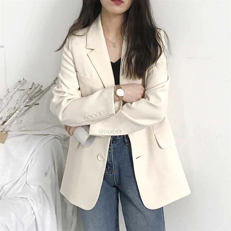 Elegant Notched Collar Bright Color Women Blazer 2019 Single Breasted Female Jacket Outwear Full Sleeve Office Ladies Blaser