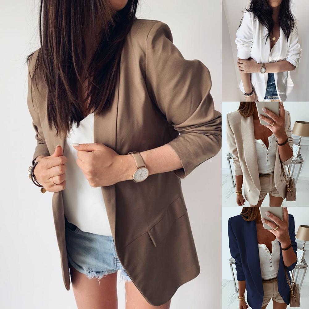 Casual Blazer Feminino Women Basic Notched Collar Solid Blazer Pockets Chic Office Ladies Retro Single Button Suit Jackets