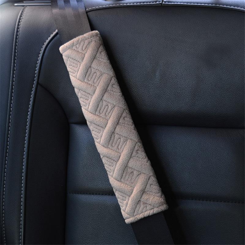 [MIX] 30Pairs 26*6cm Plush Lattice Car Seat Belt Cover Embroidered M Shoulder Pads Padding Safety Belt Auto Interior Decoration