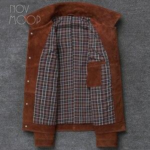 Image 4 - Novmoop veste en peau de vache, manteau dhiver pour homme, couleur marron, jaune brunâtre, style de jeunesse coréen, LT2883