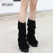 BYQDY Autumn Winter Woman Ladies Increasing Height Boots Fringe Mid Calf Platform Shoes Party Wedding Short Botas