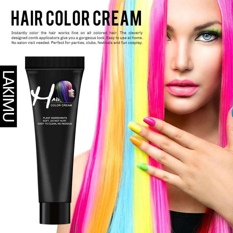 LAKIMU Hot Fashion Salon Hair Dye Not Hurt Hair Fast Hair Coloring Punk Permanent Light Gray Color Cream 9 Colors Hair Dye