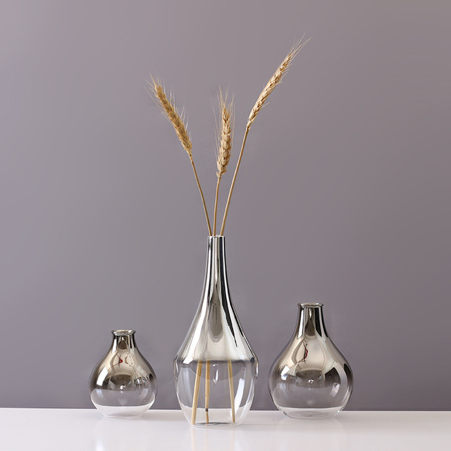 Nordic Glass Vase Silver Gradient Dried Nordic Flower Vase Decoration Home Decoration Plants Pots Furnishing Christmas Gift 2