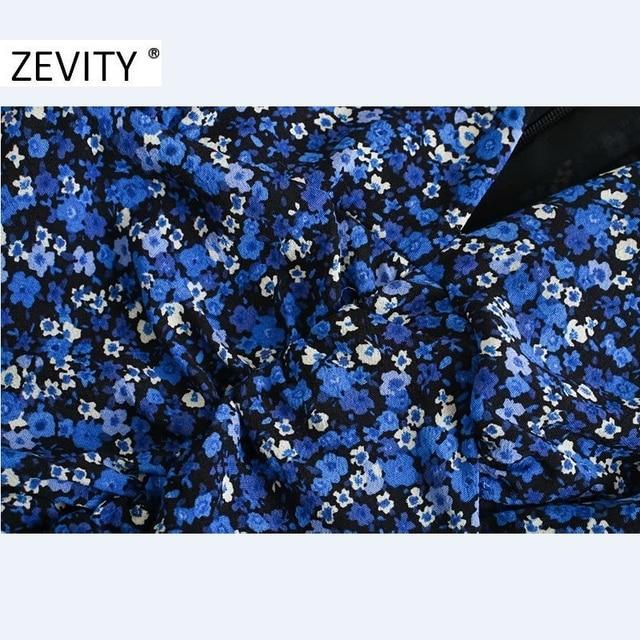 ZEVITY New Women Vintage V Neck Flower Print Pleated Shirtdress Ladies Long Sleeve Back Zipper Vestido Chic Split Dresses DS4516 5