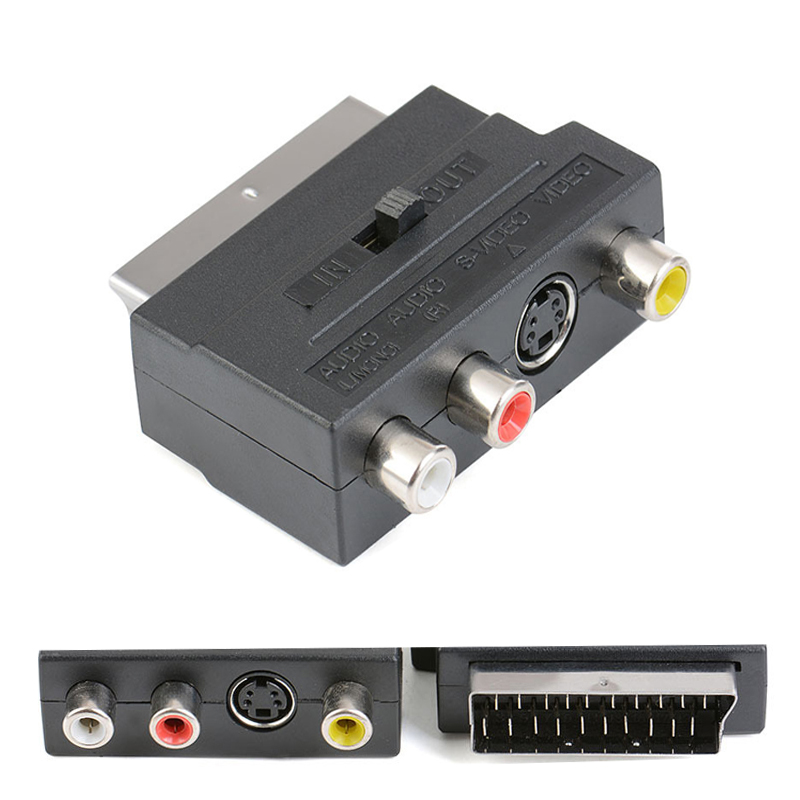 EU Interface 21 Pin To RCA Color Scart Line S Terminal Plug AV Audio/video SCART For Multimedia Video Converter