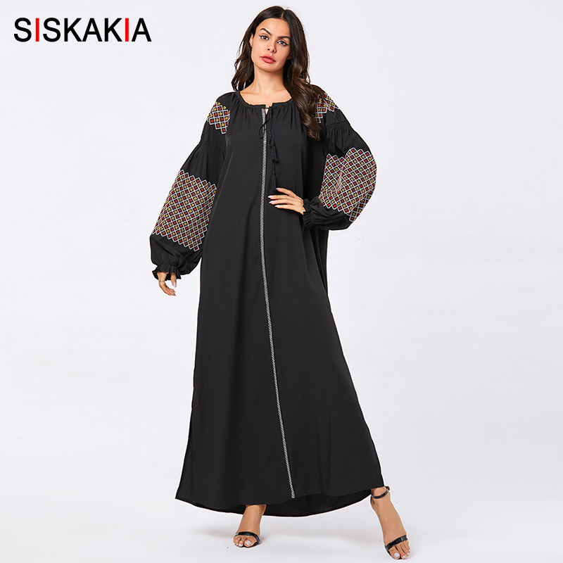 Siskakia Plus Size Maxi Long Dress For Women Muslim Geometric Embroidery Casual Abaya Dresses Black Arabian Clothes Autumn 2019