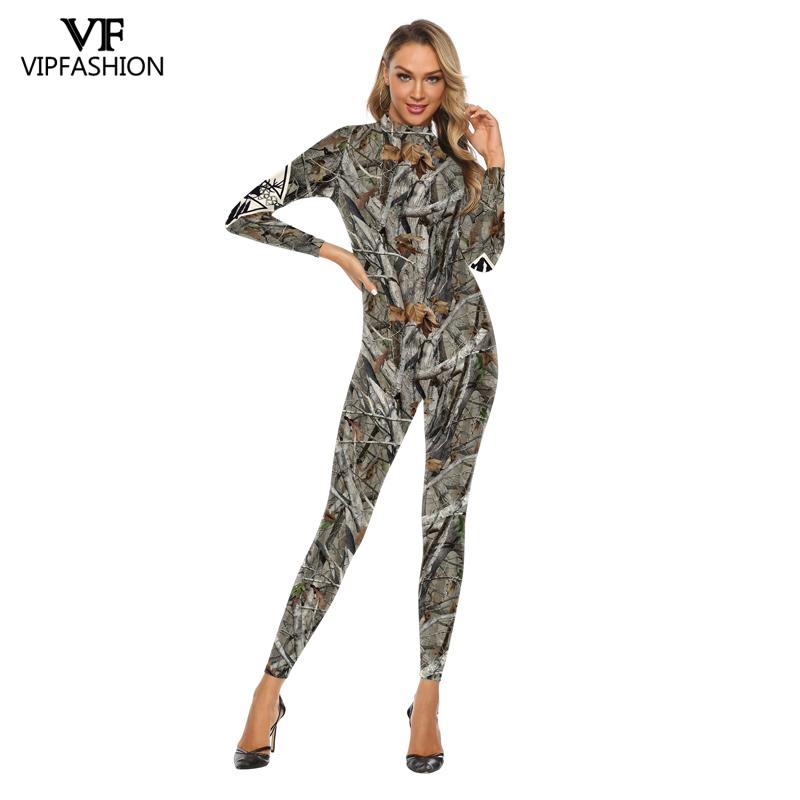 VIP FASHION New Fashion Bodysuits Green And Grey Leaf 3D Printed Hunt Carnival Cosplay Costumes For Women