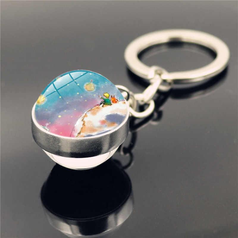 Olmayın sıkıcı bir yetişkin! Le Petit prens B-612 Planet küçük fiyat tilki gül klasik peri masalı cam küre Douside anahtarlık