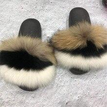 Fox Slippers Fury-Shoes Flip Flops Sandals Woman Female Women's Open-Toe Fluffy Winter