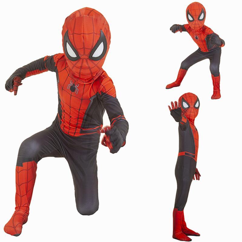 Far From Home Cosplay Peter Parker Mask Bodysuit Suit Jumpsuit Zentai Halloween Costume Superheros Man Kids
