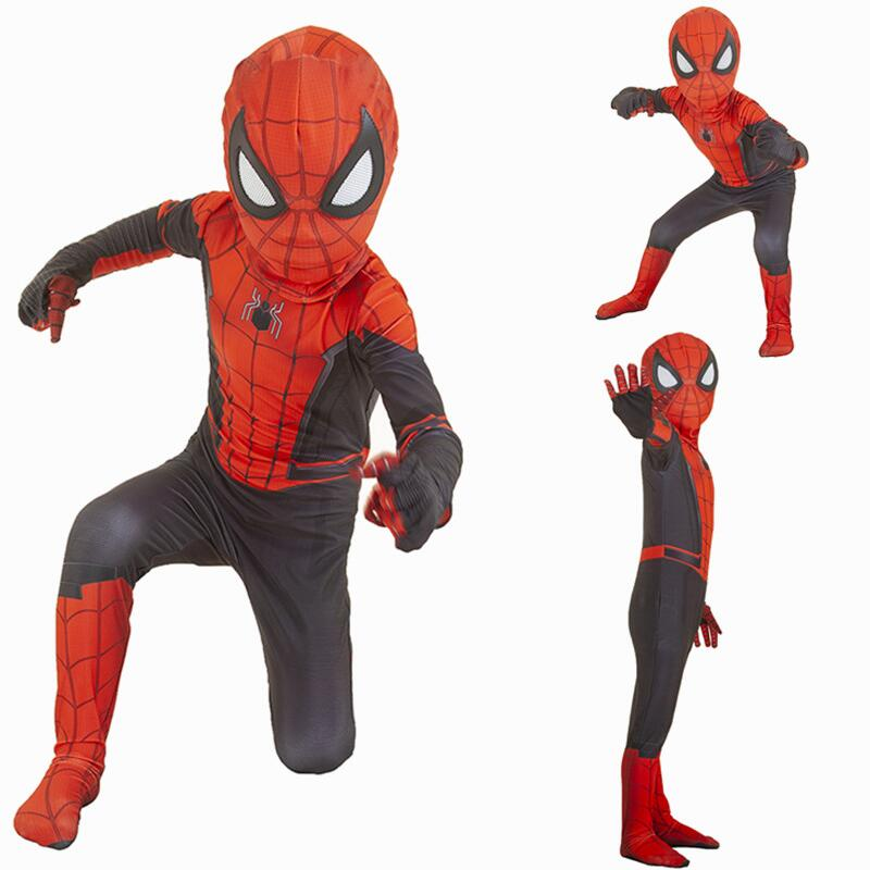 Spider-Man Far From Home Cosplay Peter Parker Mask Bodysuit Suit Jumpsuit Zentai Halloween Costume Spiderman Superheros Man Kids