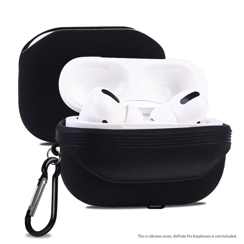 Portable Wireless Earphone Box Shell Dustproof Silicone Earphone Case Protector Compatible for AirPods <font><b>Pro</b></font> 3 (Black) image