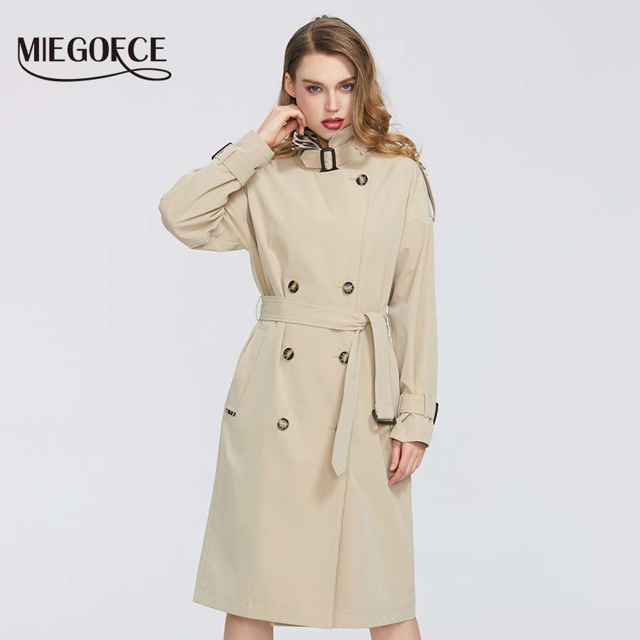 MIEGOFCE 2020 Spring Autumn New Collection Women Windbreaker Fashion Casual High Quality Windbreaker Has Belt Button Down Cloak