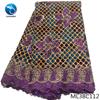 BEAUTIFICAL ankara wax lace 6 yards prints cotton embroidery lace wax african sewing fabric for dress ML38C110-23