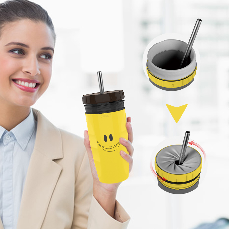 Reusable Silicone Coffee Mug with Lid and Straw French Coverless Cup Creative Twist Folding Lid Portable Thermos Coffee Cup