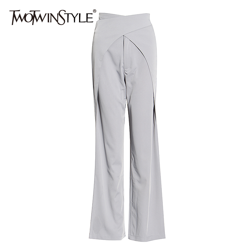 TWOTWINSTYLE Vintage Asymmteircal Women Full Length Pants High Waist Loose Wide Leg Pant For Female Fashion Clothes 2020 Summer
