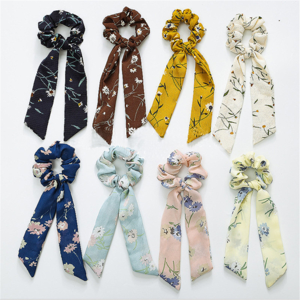 Fashion Chiffon Streamers Ponytail Tassel Hair Ring Ribbon Women Hair Rope Bow Hair Accessories Tied Hair Style Tool