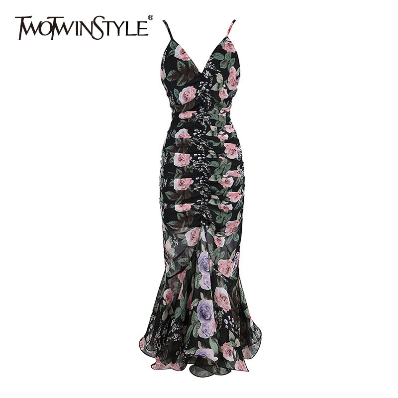 TWOTWINSTYLE Elegant Print Women Dress V Neck Sleeveless Spaghetti Strap High Wiast Ruffles Hit Color Dresses For Female Fashion