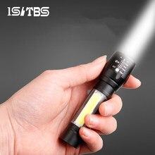 Mini lampe de poche Portable, torche d'extérieur, étanche, batterie intégrée, USB Rechargeable, randonnée, pêche, Camping