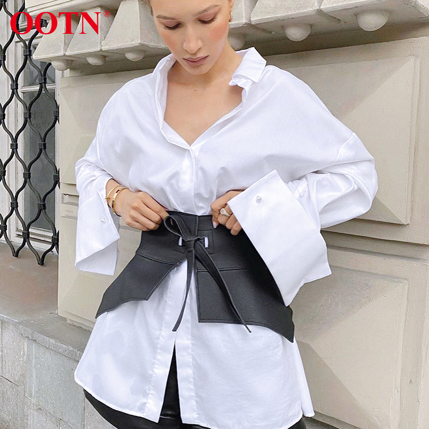 OOTN Women's White Shirt Classic Ladies Blouses Long Sleeve Top Elegant Blouses Office Clothes Loose Button Up Shirts Female image