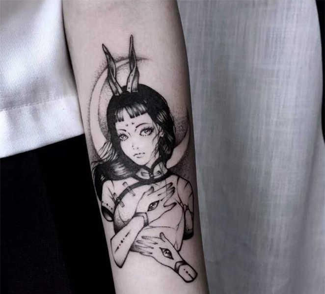 รอยสักชั่วคราวสติกเกอร์สักปลอมMoonสาวกระต่ายTattooแขนแขนเท้าBody Artสักรอยสักกันน้ำสำหรับสาวผู้หญิงผู้ชาย