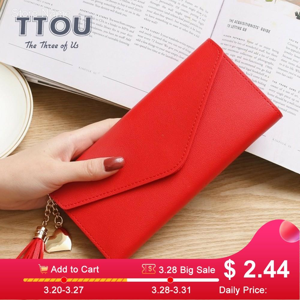 TTOU Fashion Women Long Wallet With Tassel Quality Leather Cluths Multi-function Ladies' Card Holder Female Coin Purse Wallet