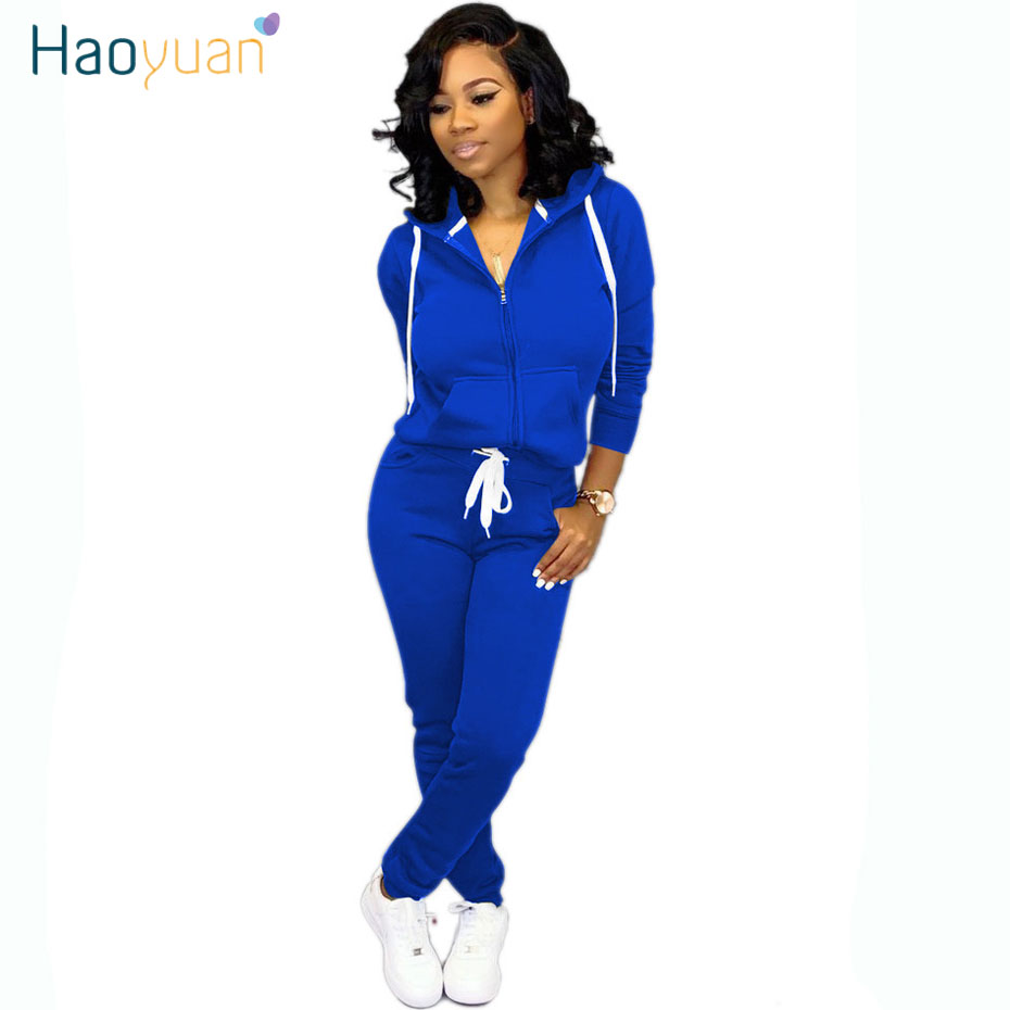 HAOYUAN Two Piece Set Tracksuit Women Fall Winter Clothes Long Sleeve Hoodie Top And Pant Sweat Suit 2 Piece Matching Outfits