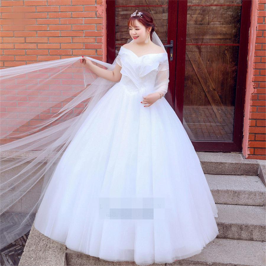 Hot Promo 7088 Boat Neck Wedding Dress Free Shipping 2019