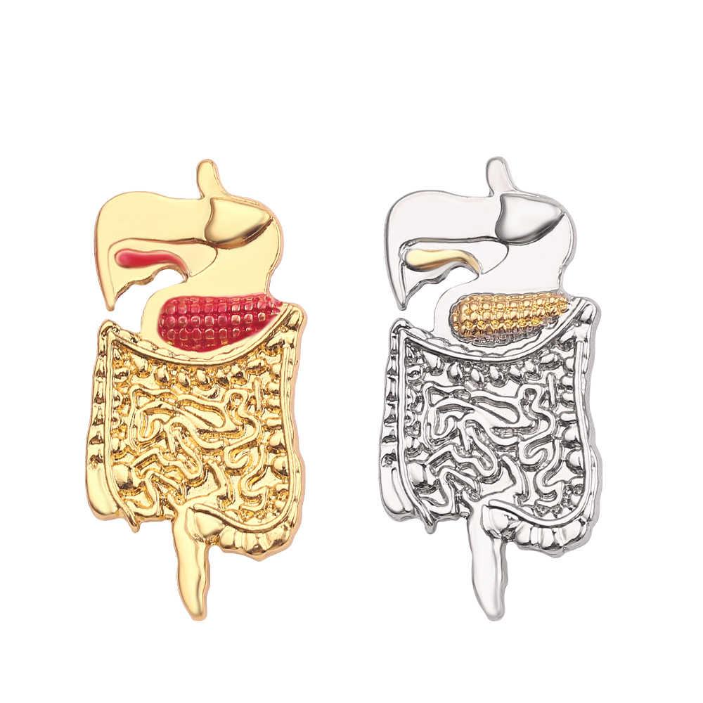 Medis Bros Enamel Pin Usus Pori-pori Rahim Otak Heart Badge untuk Wanita Pria Perawat Stetoskop Kimia Dokter Hadiah Perhiasan