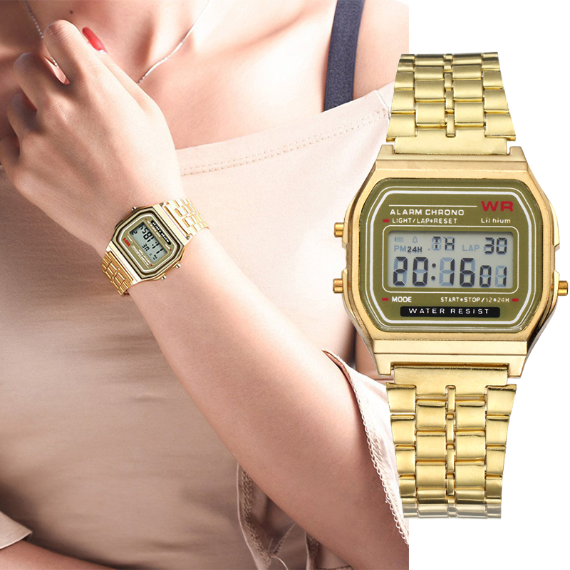 Luxury Women's  Gold Stainless Steel Watches Women Fashion LED Digital Clock Casual Dress Ladies Electronic Watch Reloj Mujer