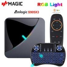 A95X F3 powietrza TV, pudełko z systemem Android 9.0 8K światło RGB procesor Amlogic S905X3 4GB 64GB Wifi 4K Box Androaid telewizor z dostępem do kanałów odtwarzacz multimedialny X3 pudełko