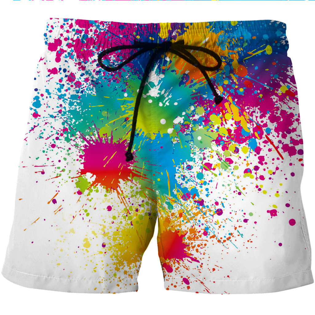 Men's Quick-drying Beach Shorts Colorful Paint Creative Printing Casual Shorts