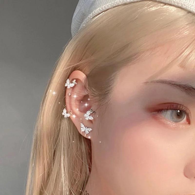 Shiny Minimalist Butterfly Stud Earrings Ear clip for Women 2020 Trendy Rhinestone Animal Earrings Party Jewelry