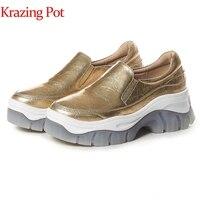 Vender https://ae01.alicdn.com/kf/H3eb5ae18842047bdb472e1547796e940T/Zapatillas de deporte concisas de color plateado con plataforma de cuero genuino y maceta para mujer.jpg