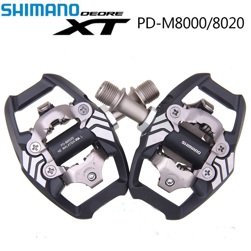 Shimano <font><b>XT</b></font> MTB Bike Pedale PD M8000 <font><b>M8020</b></font> Self-Locking Cycling Clip Components for Bicycle Racing Pedales Cleat Accessories image