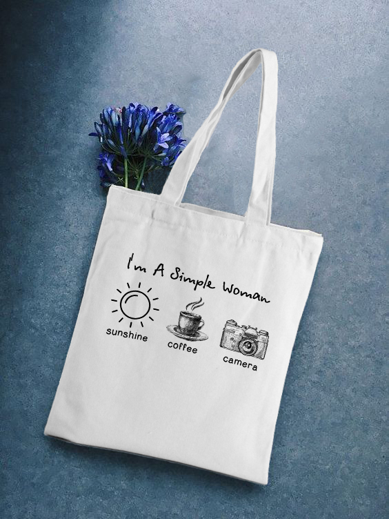 I'm A Simple Woman Reusable Shopping Bags Cloth Canvas Bag Large Capacity Foldable Eco Grocery Tote Female Shopper Handbag