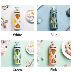 Image 2 - 17 Ounce Glass Water Bottle with Easy Flip Top Lid and Sleeve BPA Free Reusable Borosilicate Wide Mouth Sports Travel Drinking