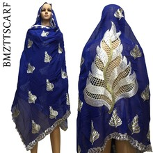 Хлопок платок в африканском стиле на высоком каблуке Hijab шарф Мусульманский женские шали хороший дизайн на спине большой хлопковый шарф шали BM632