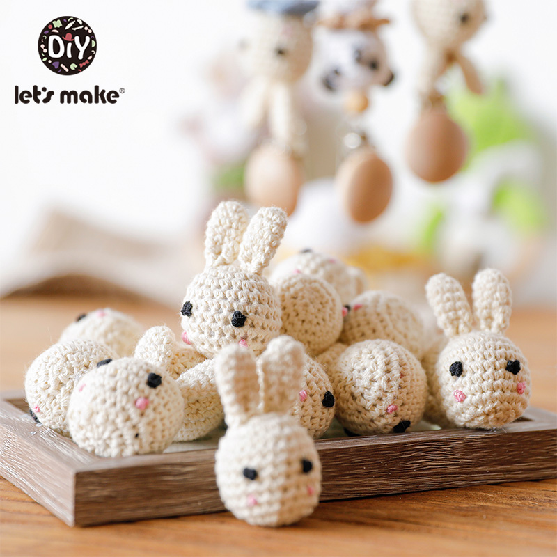 Let's Make 10pcs Crochet Rabbit Panda Beads DIY Baby Toys Wooden Teething Knitting Jewelry Crib Baby Sensory Children's Products
