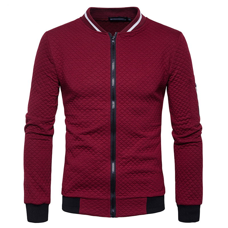 Men Basic Outer Wear Full Zip Up Fleece Sweatshirt Casual Diamond-type Lattice Stand Collar Business Jacket Fashion Zipper Coat